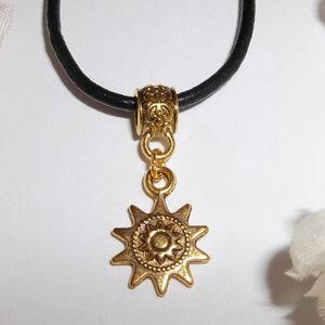 Gold and Black Pendant Charm Necklace Minimalist